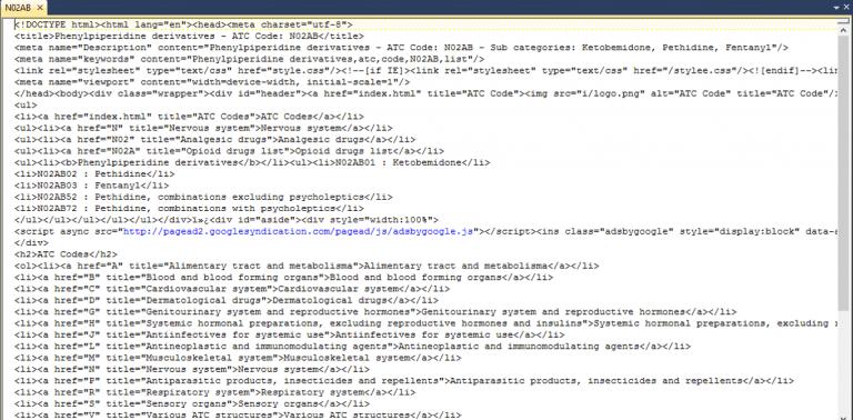 html file content